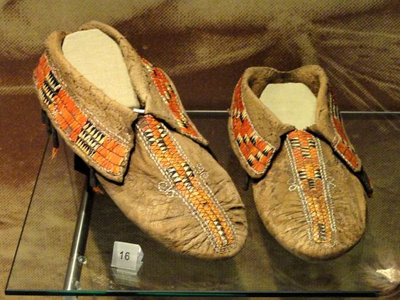 Moccasins with porcupine bristles, eastern woodlands, 18th or early 19th century .jpg