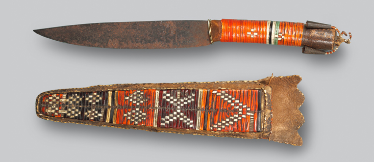 TRADE KNIFE WITH QUILLWORK CASE EASTERN WOODLANDS, BEFORE 1760 Collections of Fort Ligonier .jpg